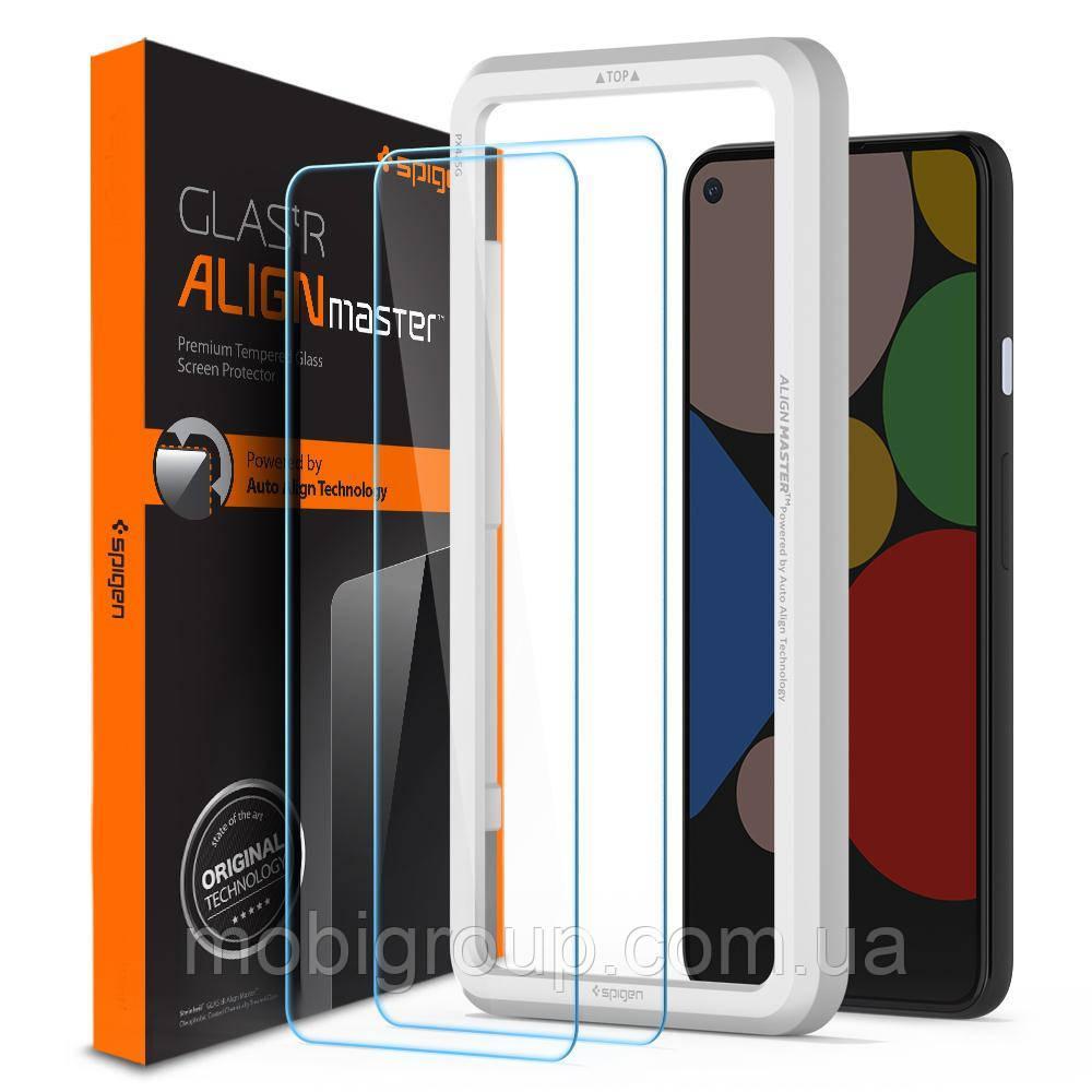 Защитное стекло Spigen для Pixel 4a (5G) Glas.tR AlignMaster (2 шт), Black (AGL02044)