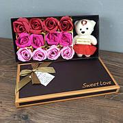 Мыльные розы букет из мыла в коробке подарочный набор подарок на 8 марта маме девушке мыльные цветы