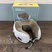 Массажная подушка роликовый массажер для спины шеи Shaped Massage Pillow с подогревом роликами вибрацией серый