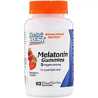 Мелатонин со Вкусом Клубники, Melatonin Gummies, Doctor's Best, 5 мг, 60 желейных конфет
