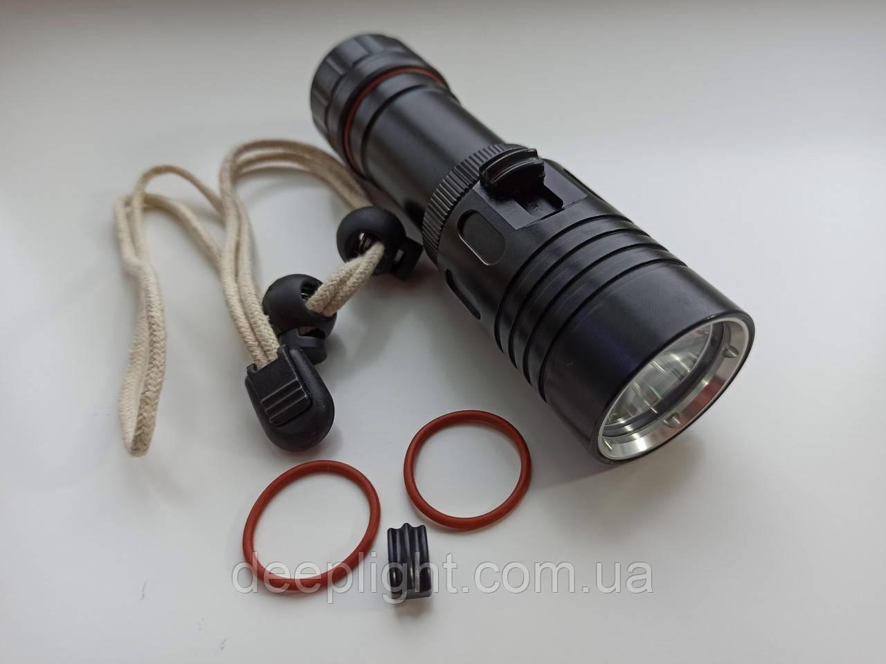 Підводний ліхтар з ЖОВТИМ світлом серія Compact на Cree XM-L2 10W Чорний корпус 26650