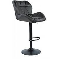 Барный стул для барной стойки хокер с спинкой на кухню на черной основе высокий Hoker эко кожа B 087 черный