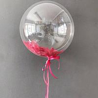 Воздушный шар Bubbles перышками 45 см