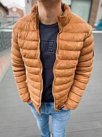 Чоловіча стильна куртка без капюшона коричнева, фото 1