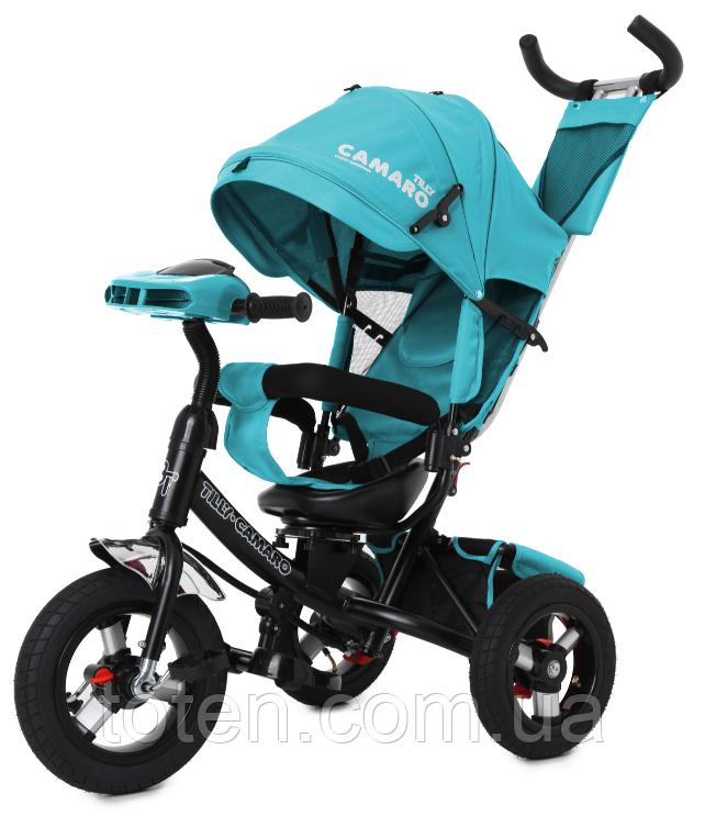 Велосипед трехколесный с ручкой детский Tilly Trike T-362/1 Camaro, надувные колеса, бирюзовый