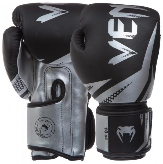 Боксерские перчатки  PU VENUM Challenger BO0866-BW (реплика, черно-серебряный) размер 10 унц.