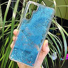 Чохол Glitter для OPPO A91 бампер рідкий блиск Синій
