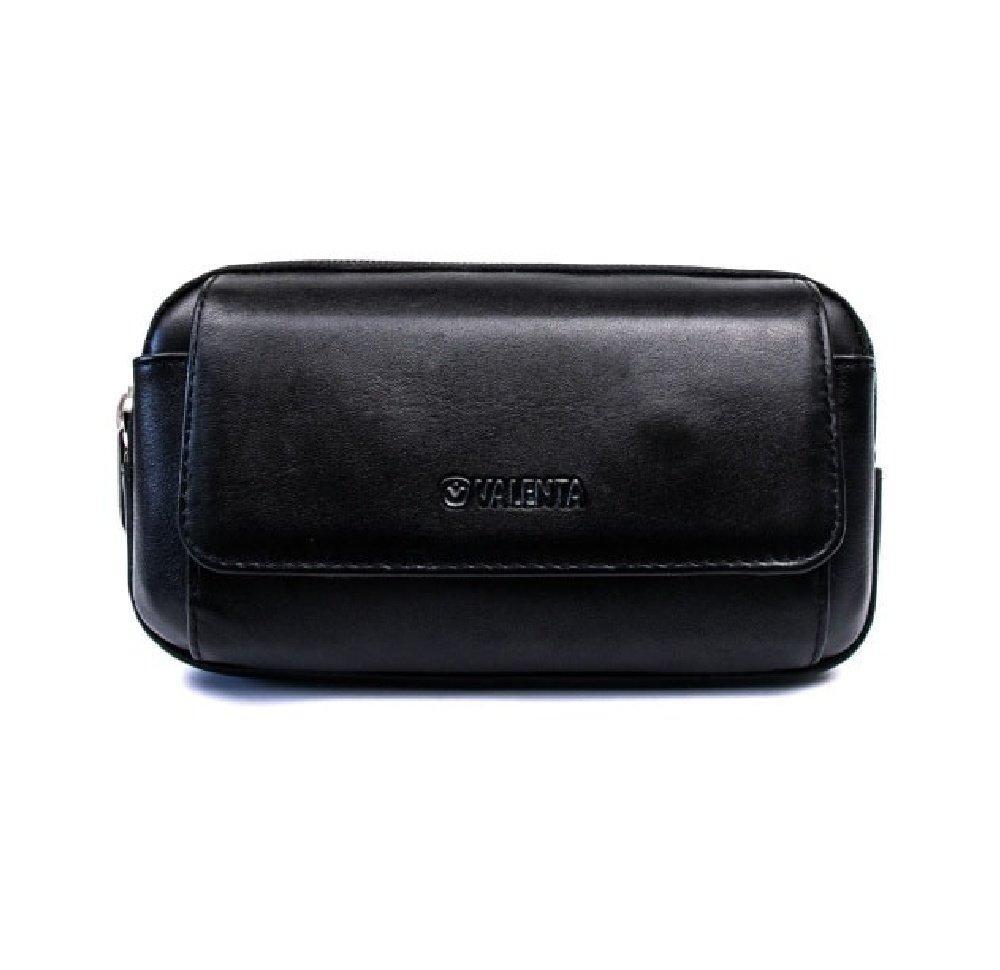 Чехол для смартфона универсальный на пояс Valenta Double Black с карманом для денег