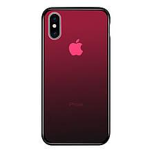Чехол Amber-Glass для Iphone XS Max бампер накладка градиент Red