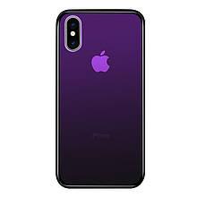Чехол Amber-Glass для Iphone XS Max бампер накладка градиент Purple