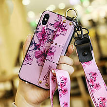 Чехол Lanyard для Iphone XS Max бампер с ремешком Rose