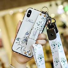 Чехол Lanyard для Iphone XS Max бампер с ремешком White
