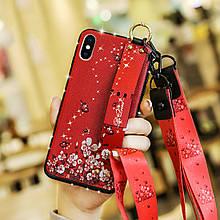 Чехол Lanyard для Iphone XS Max бампер с ремешком Red