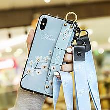 Чехол Lanyard для Iphone XS Max бампер с ремешком Blue