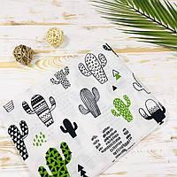 Муслиновая хлопковая пеленка для мальчика кактусы Lukoshkino ® Размер 80*100 см.  MP-11