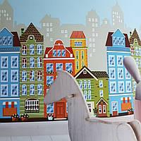 Обои виниловые на флизелине AdaWall Ada Kids метровые детские город дома здания  горизонтальная поклейка, фото 1