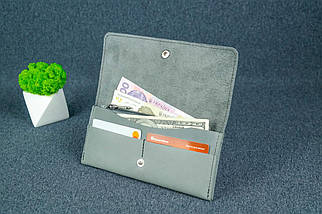 """Жіночий шкіряний гаманець """"Флай"""", Вінтажна шкіра колір Сірий, фото 3"""