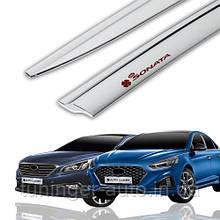 Ветровики, дефлекторы окон хромированные Hyundai Sonata LF 2014-2018 (Auto Clover C568)