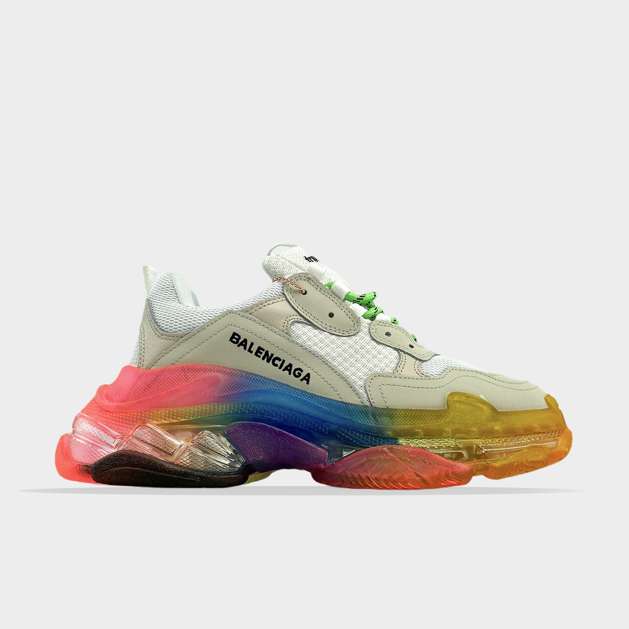 Balenciaga, крос, обувь, взуття, sneakers, шузы, Triple S Clear Sole White Rainbow (Белый)