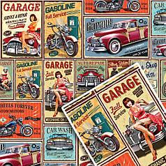 "Подарочная упаковочная крафт бумага ""Ретро Garage"" 70*100см 10л/уп"