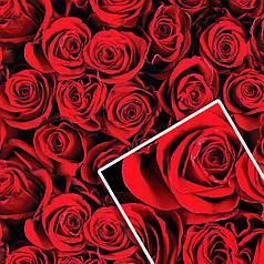 """Подарочная упаковочная крафт бумага """"Красные розы"""" 70*100см"""