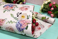 """Двухсторонняя белая крафт бумага """"Цветы в букете"""" 70см*10м"""