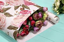 """Односторонняя оберточная крафт бумага """"Крупные розы"""" 70см*10м"""