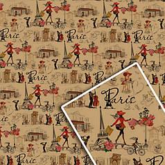 """Подарочная упаковочная крафт бумага """"Париж"""" на сером 70*100см 10л/уп"""