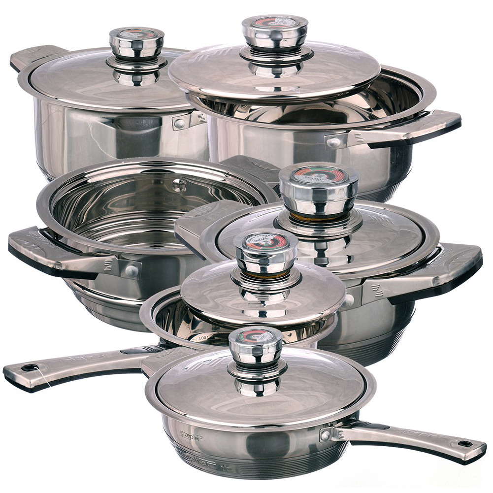 Набір посуду, каструль ZEPTER 21 предмет, сковорода, кухлик, пароварка, миска, сито, підставки