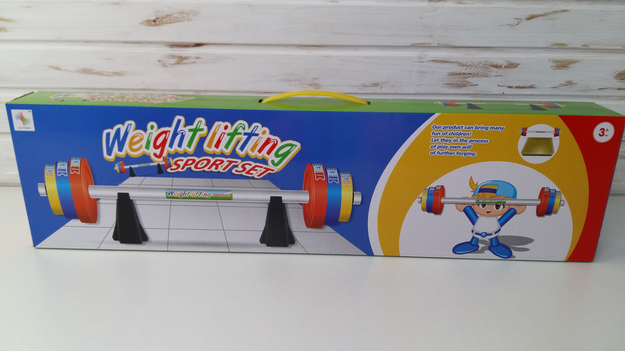 Игра детская пауэрлифтинг штанга 80,5 см, Детская штанга, набор блинов 6 шт MR 0172