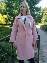 Пальто-кардиган розовая пудра из шерсти альпака