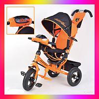 Детский трехколесный велосипед коляска Lamborghini Trike LP20 на Надувных колесах Оранжевый