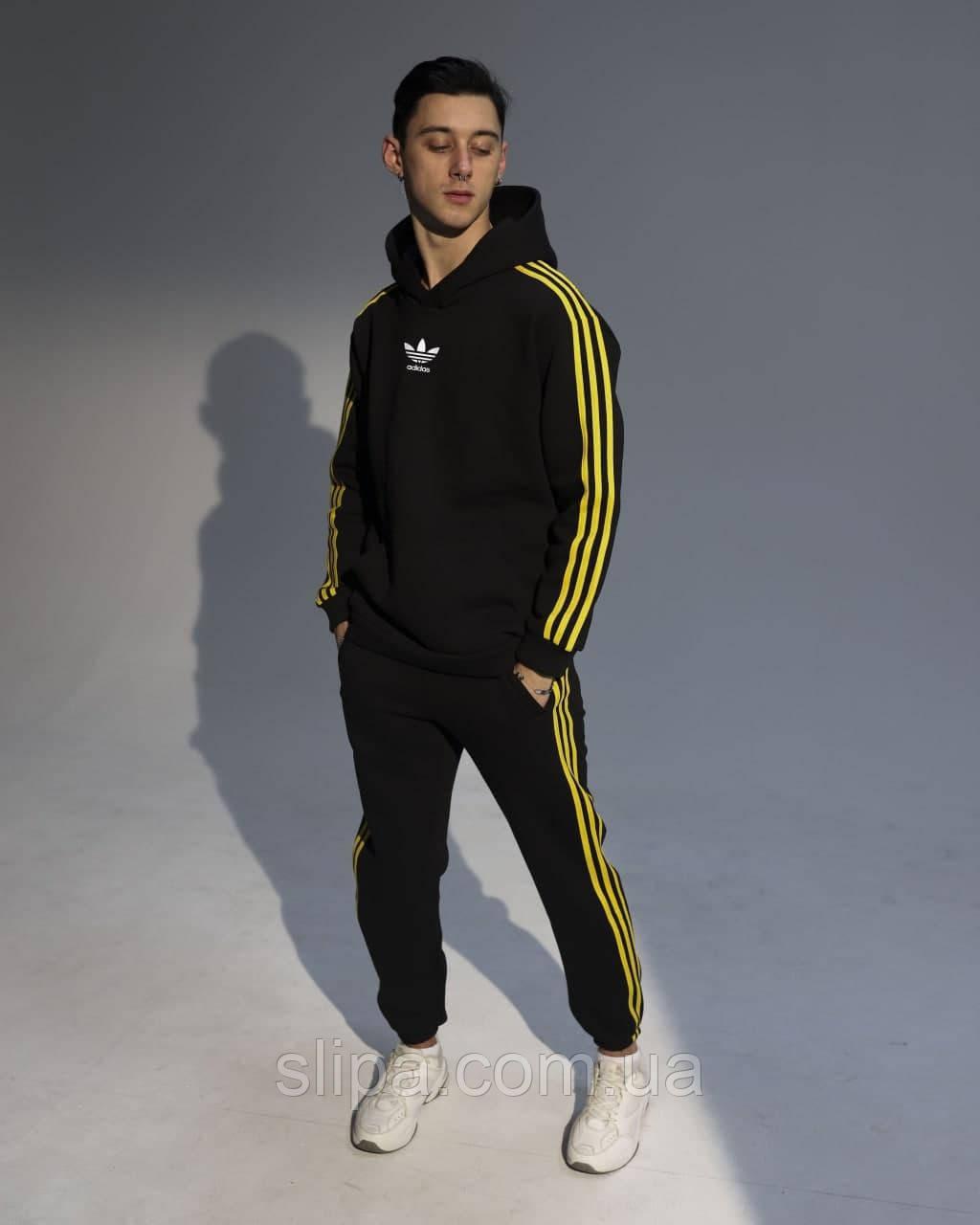 Мужской спортивный костюм в стиле Adidas чёрный с жёлтым