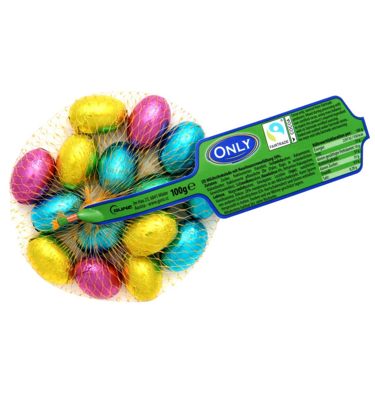 Шоколад молочний (шоколадні цукерки) Яйця кольорові Only сітка 100 г Австрія