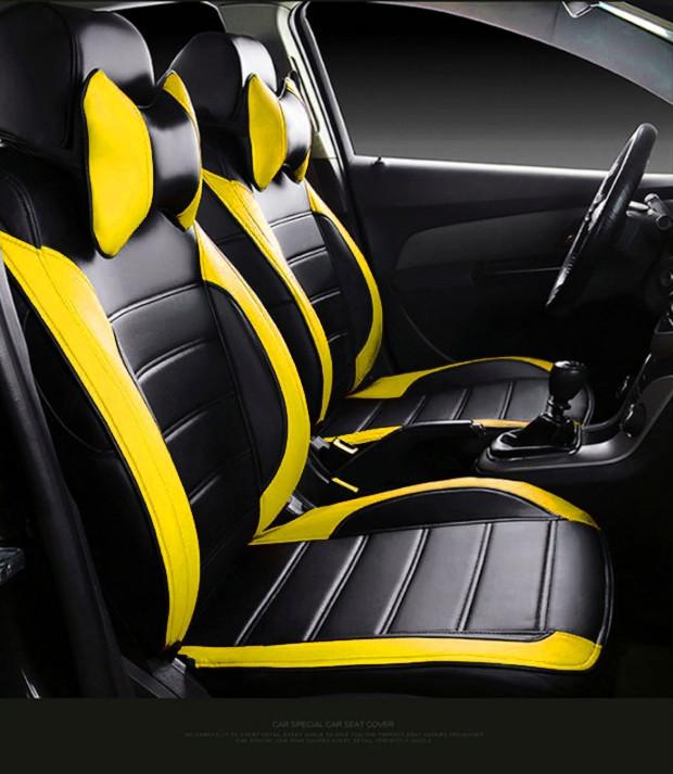 Чехлы на сиденья Тойота Авенсис Седан (Toyota Avensis Sedan) модельные MAX-L из экокожи Черно-желтый