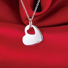 """Кулон на ланцюжку жіночий у вигляді серця """"Ідеальне сердечко"""" покриття срібло 925"""