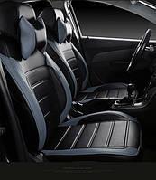 Чехлы на сиденья ДЭУ Сенс (Daewoo Sens) модельные MAX-L из экокожи Черно-серый