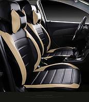 Чехлы на сиденья ДЭУ Сенс (Daewoo Sens) модельные MAX-L из экокожи Черно-бежевый