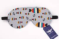 Двусторонняя маска для сна с рыбками и якорями, фото 1