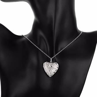 """Кулон женский открывающийся в виде сердца """"Воздушное сердце II"""" покрытие серебро, фото 2"""
