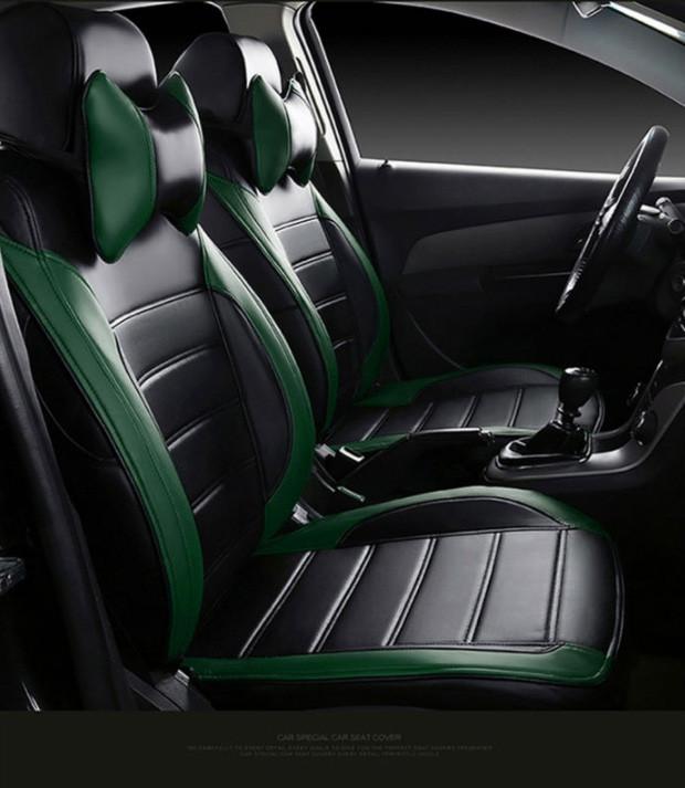 Чохли на сидіння Опель Зафіра Б (Opel Zafira B) (модельні, MAX-L, окремий підголовник) Чорно-зелений