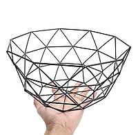 Корзина для фруктов металлическая Фруктовница Ваза для фруктов Geometry 14х27 см, черный