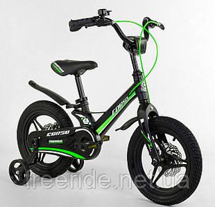 """Дитячий Велосипед CORSO 14"""" MG (литі диски) магнієва рама, дискові гальма чорно-зелений"""