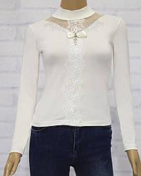 Блузка школьная с длинным рукавом  для девочки, с кружевными вставками, трикотаж, Carrino Girls (размер 116)