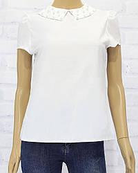 Блузка школьнае с коротким рукавом для девочки, .ворот с .жемчугом,  рукав.фонарик,  х/б, LARSY  (размер 146)