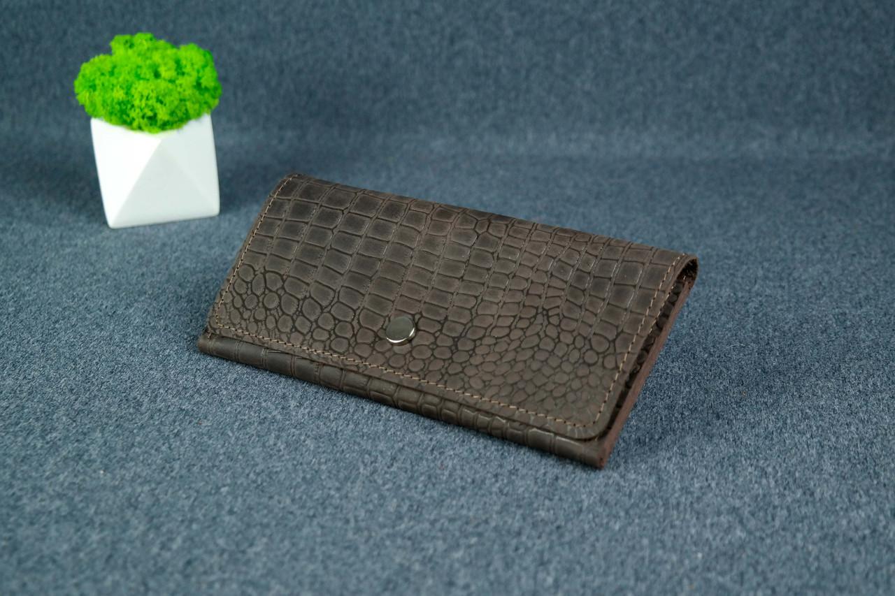 """Жіночий шкіряний гаманець """"Флай"""", Вінтажна шкіра колір Шоколад, тиснення №1"""