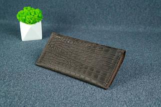 """Жіночий шкіряний гаманець """"Флай"""", Вінтажна шкіра колір Шоколад, тиснення №1, фото 2"""