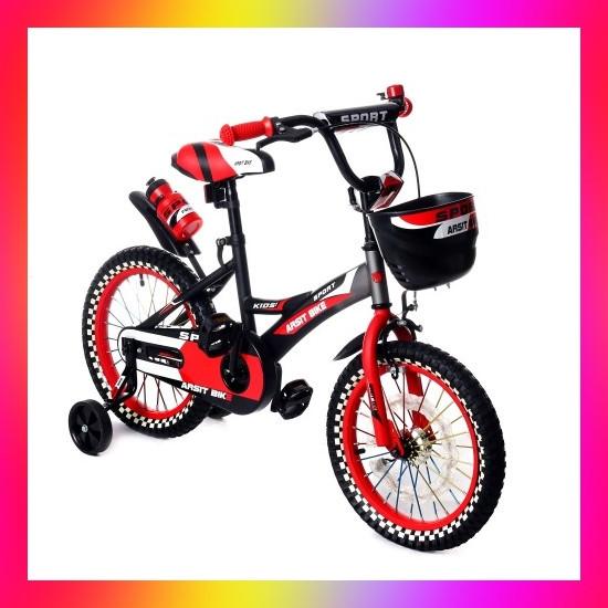 Детский двухколесный велосипед с подсветкой колес и корзиной Huada Toys 1687 для детей 4-7 лет Красный