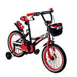 Детский двухколесный велосипед с подсветкой колес и корзиной Huada Toys 1687 для детей 4-7 лет Красный, фото 2