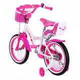 Детский двухколесный велосипед с корзинкой и багажником Little Queen 20 дюймов для девочки 7-11 лет Розовый, фото 3